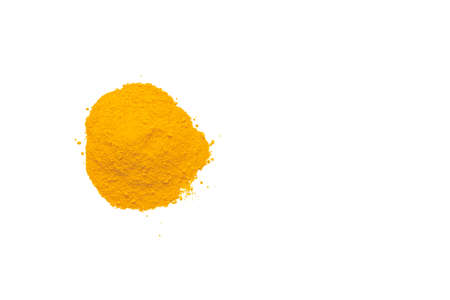 Dry turmeric powder isolated on white background.Close-up of powder orange color turmeric.top view and copy space