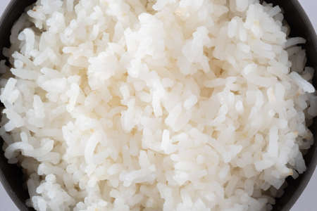 Macro picture of cooked rice.food background.Top up rice steamed.