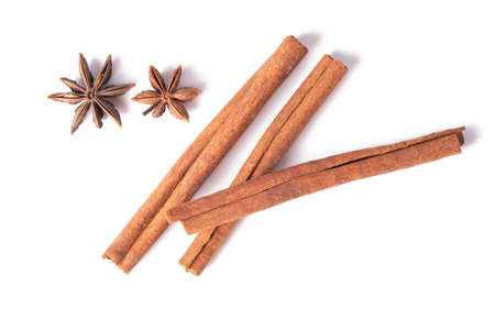 Cinnamon and Star anise reality in isolated .Cinnamon helps relieve fatigue. Give freshness.Cinnamon sticks.Used as a food ingredient.Star anise.cinnamon.