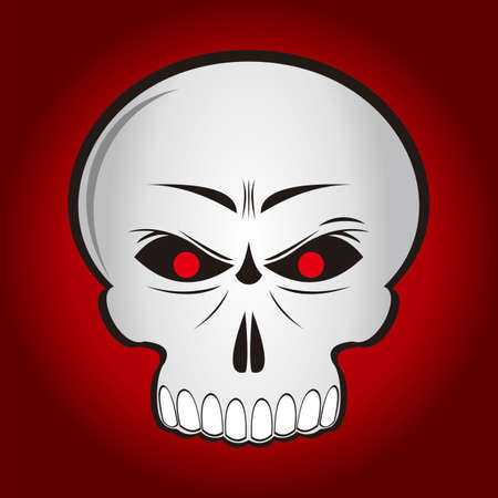 skull icon: skull icon with red eye in vector format