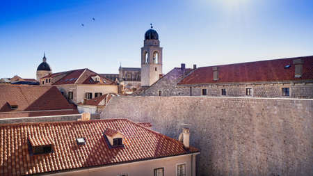 Glock Tower in the beautiful old town of Dubrovnik Stock Photo