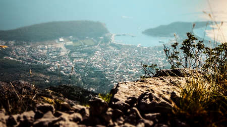 View over the Valley from a Peak within the Biokovo Mountains in Makarska Croatia Stock Photo