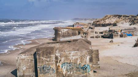 Old bunker on the coast line of Lokken, North Denmark Фото со стока