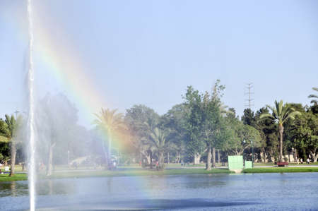 sun drenched: The fountain in the lake in park Hayarkon in Israel