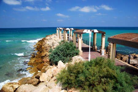 Mediterranean Sea coast of Israel in the early morning Imagens