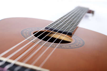 fretboard: guitar with the strings on a white background