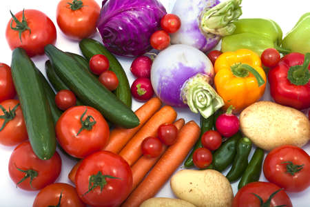 a variety of vegetables on white background