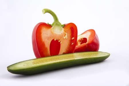 peppers and cucumber on a white background Imagens