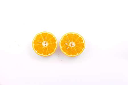 mandarin orange on white background