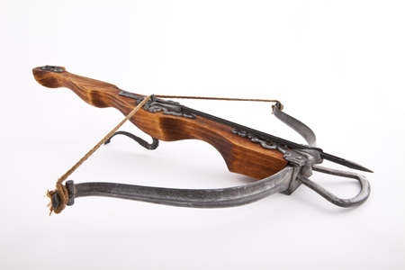crossbow: crossbow with an arrow on a white background Stock Photo