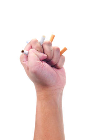 A hand grip cigarette isolated with white background photo