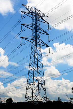 outdoor electricity: A single voltage power isolated with blue cloudy sky, and green foreground.