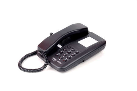 landlines: Black Conventional Telephone Isolated White Background
