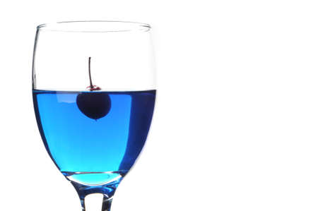 Cherry In Blue Water Isolated White Background Stock Photo - 11079787