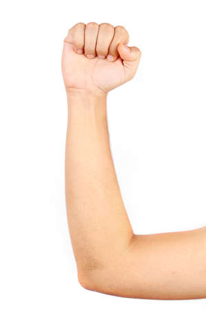 Close up of thin mans muscular arm isolated with white background photo