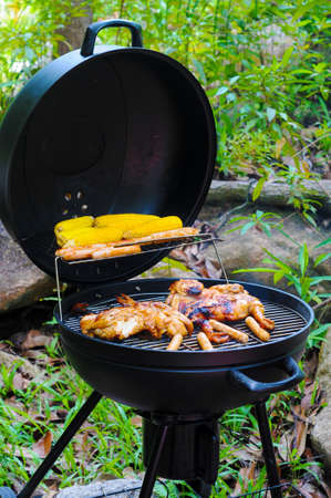 Grilled Chicken, Sausage and Corn on barbeque sets photo