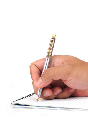 hand hold a pen writing isolated white background photo