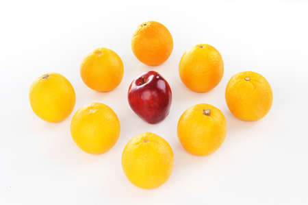Juicy red in the middle of orange isolated white background photo