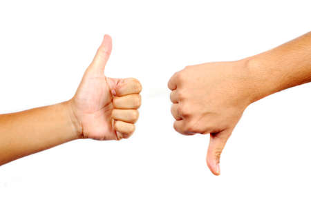 approve icon: Thumbs up and down in isolated white background