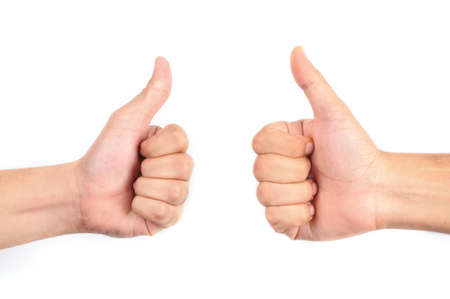 Two thumbs up isolated with white background photo