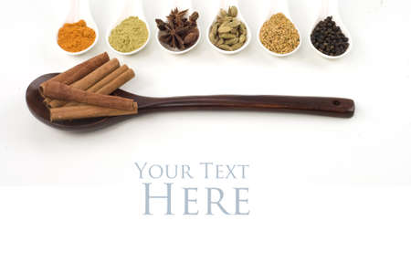 indian cooking: Herbs and spices Closeup Isolated White Background Stock Photo