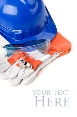 Personal Protective Equipment, safety helmet, glove, safety glass and whistles isolated white background