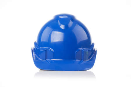 helmet construction: Safety Helmet in blue color isolated white background Stock Photo