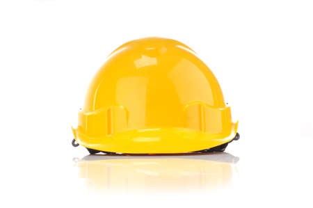 Yellow safty helmet from front isolated white background