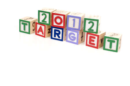 Alphabet blocks spelling 2012 Target isolated white background photo