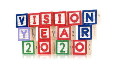 Alphabet blocks spelling Vision Year 2020