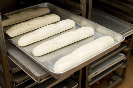 biscuit factory: Bread dough on tray ready to bake