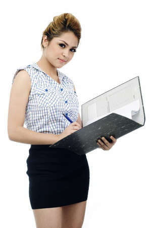 Beautiful young asian business woman holding a file and smile isolated white background photo