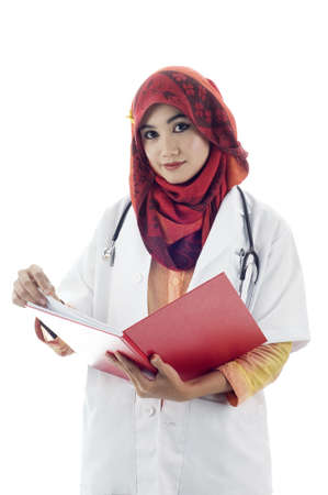 Muslim doctor potrait isolated white background Stock Photo - 12408376
