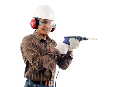 Workers smile while holding drill with safety isolated white background