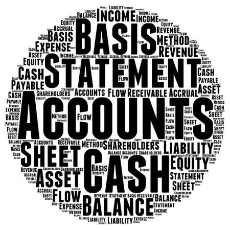 accrual: Account Word Cloud Illustration In Round Shape