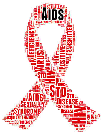 std: World Aids Day Word Cloud Illustration In Red Ribbon Shape