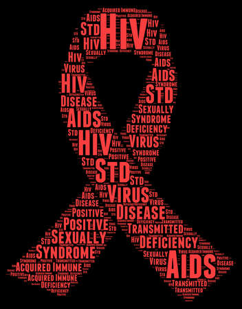 sexually: World Aids Day Word Cloud Illustration In Red Ribbon Shape