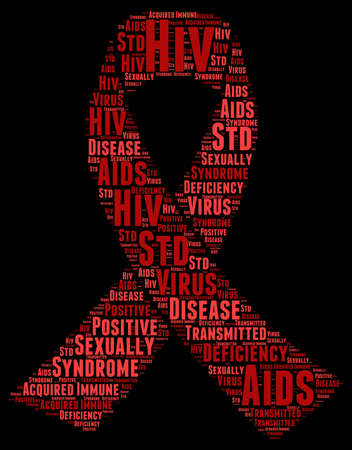 sensually: World Aids Day Word Cloud Illustration In Red Ribbon Shape