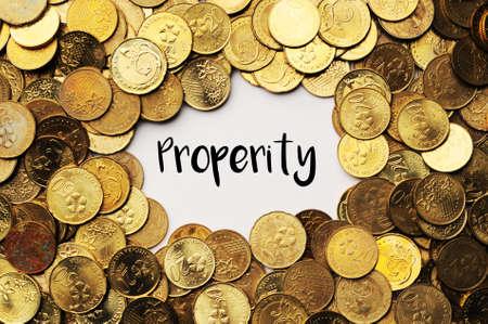 prosperidad: Antecedentes de las monedas de Malasia con la prosperidad palabra en el medio Foto de archivo