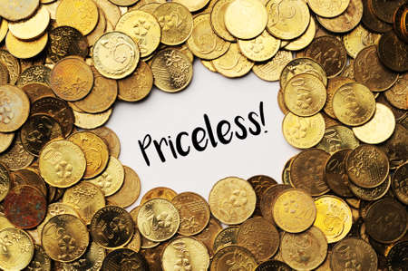 priceless: Background of the coins of Malaysia with word priceless in the middle Stock Photo