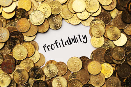 profitability: Background of the coins of Malaysia with word profitability in the middle