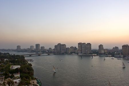 nile: Cairo view, by the Nile river.