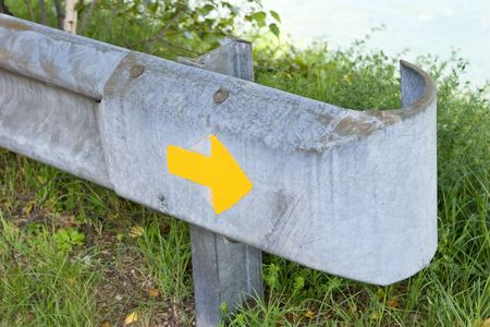 guardrail: Sign, painted on a guard-rail. Stock Photo