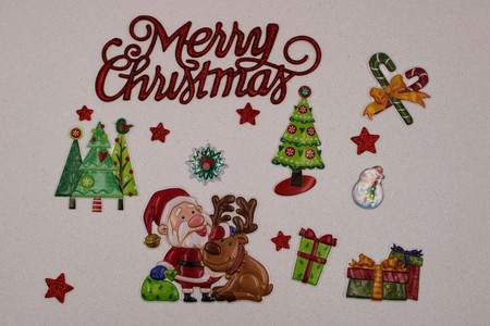 Nice Christmas illustration on white background with trees and Santa Claus