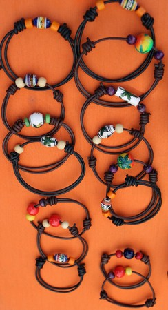 Braided leather bracelets of light and dark color handmade 写真素材 - 123663357