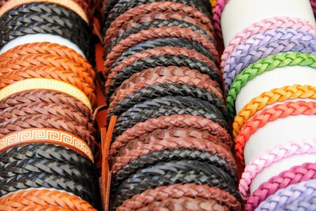 Braided leather bracelets of light and dark color handmade 写真素材