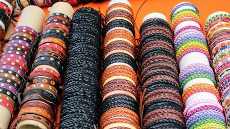 Braided leather bracelets of light and dark color handmade 写真素材 - 123663360