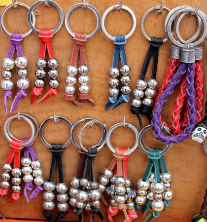 Pretty leather key chains with silver balls made by hand