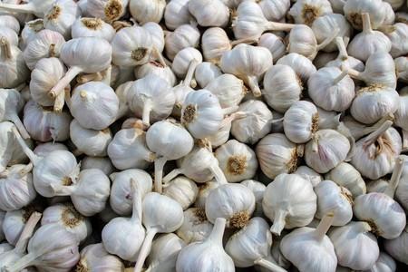 Bunch of white garlic in a market stall 写真素材 - 123663523