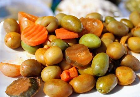 Mix of color and flavor with pickled olives , peppers and carrots 写真素材